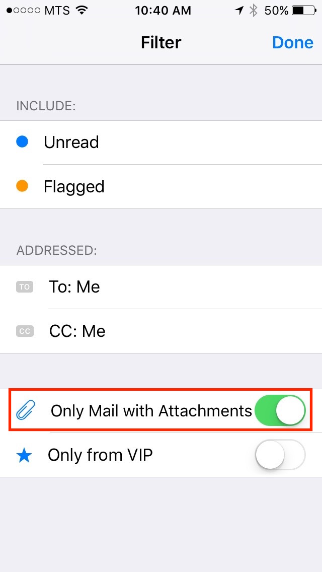 img  only with attachments - iOS 10 Mail Filters - How To Use Them And Why You Should