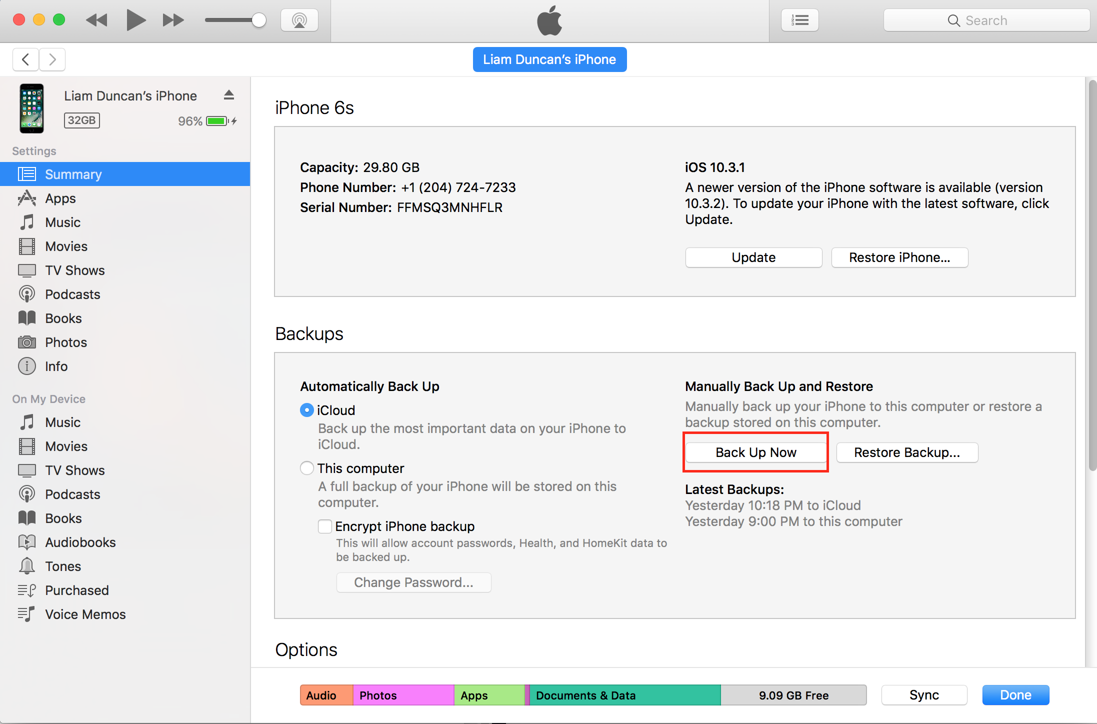 img  back up now itunes - The Best Way to Transfer your Data from an Old iPhone to a New iPhone
